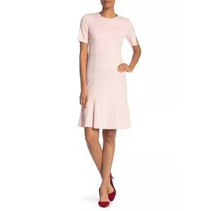 Donna Morgan Blush Pink Slit Sleeve Ruffle Dress